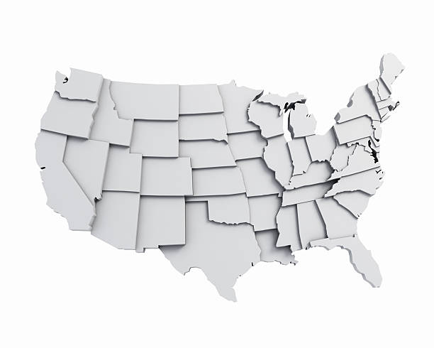 3D USA Map with states in different plane elevations stock photo