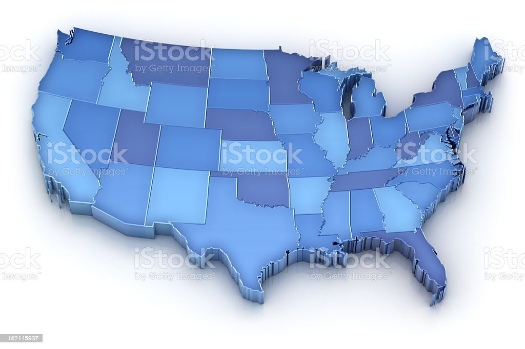 USA map with states royalty-free stock photo