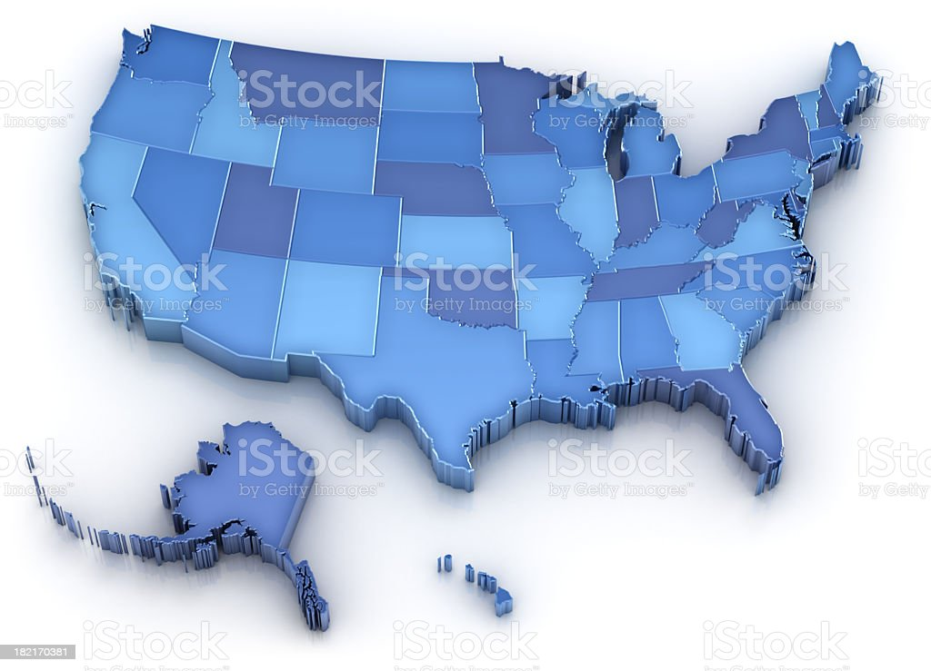 USA map with states (also Alaska and Hawaii) stock photo