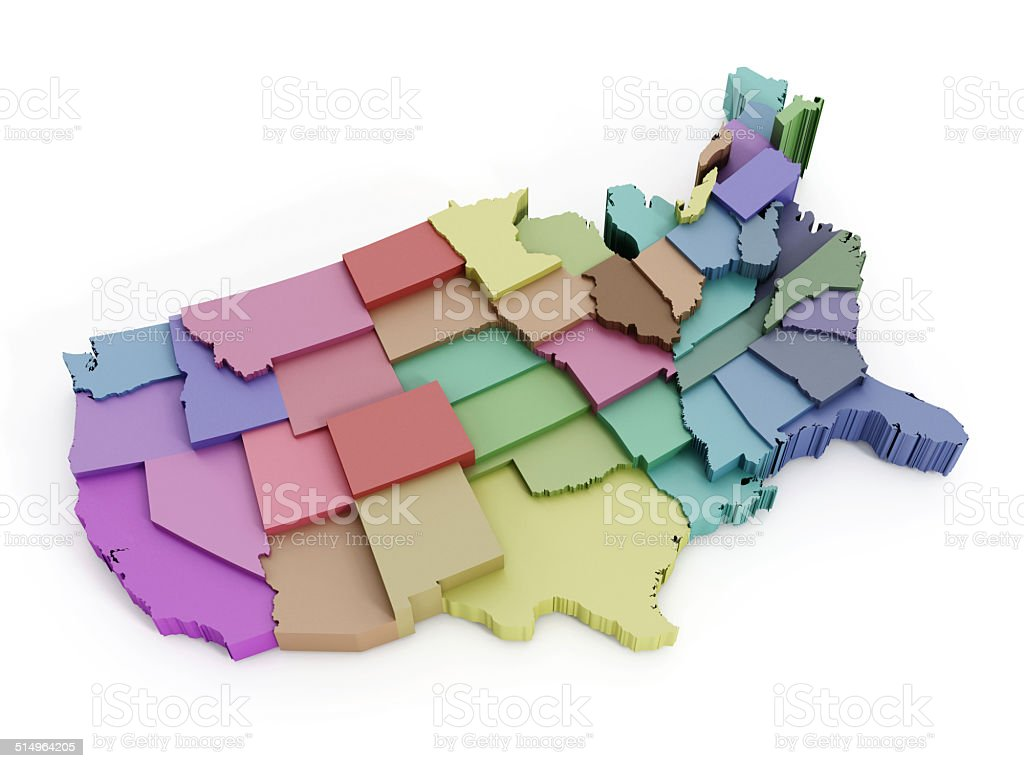 USA map with states stock photo