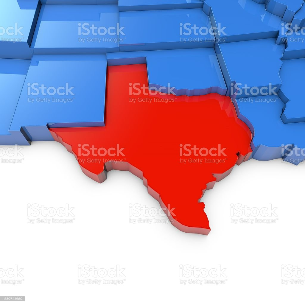 Usa Map With Texas State Highlighted In Red Stock Photo More - Us-map-with-texas-highlighted