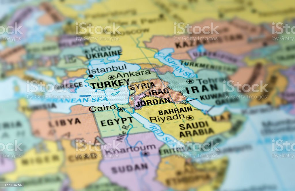 A map with the middle east in focus royalty-free stock photo