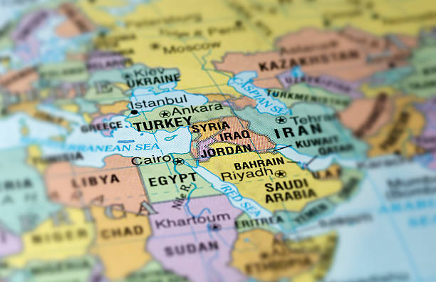 a map with the middle east in focus - saudi arabia map stock photos and pictures