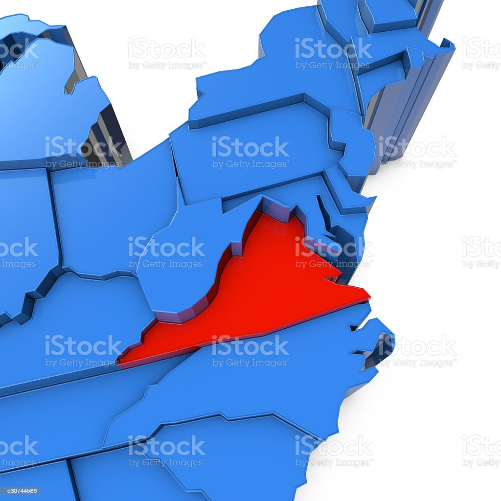 Usa Map With Virginia State Highlighted In Red stock photo iStock