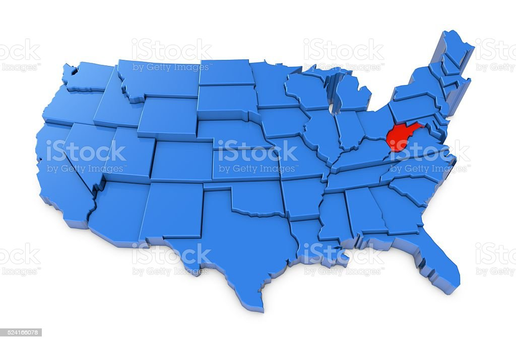 Usa Map With West Virginia State Highlighted In Red Stock Photo - West virginia us map