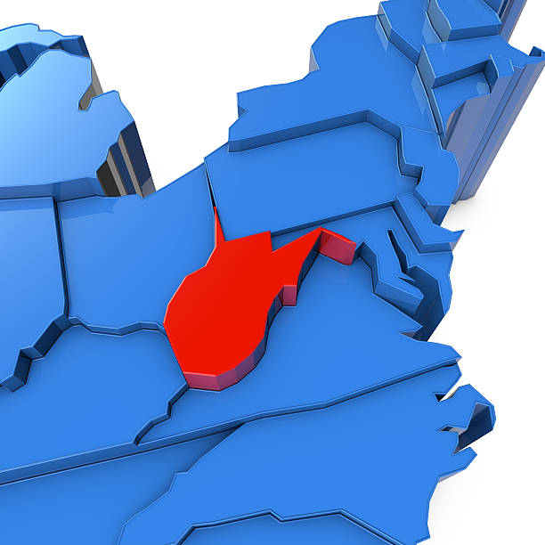USA map with west virginia state highlighted in red A close up 3D render of USA map with states. The map is blue and on a plain white background.  west virginia us state stock pictures, royalty-free photos & images