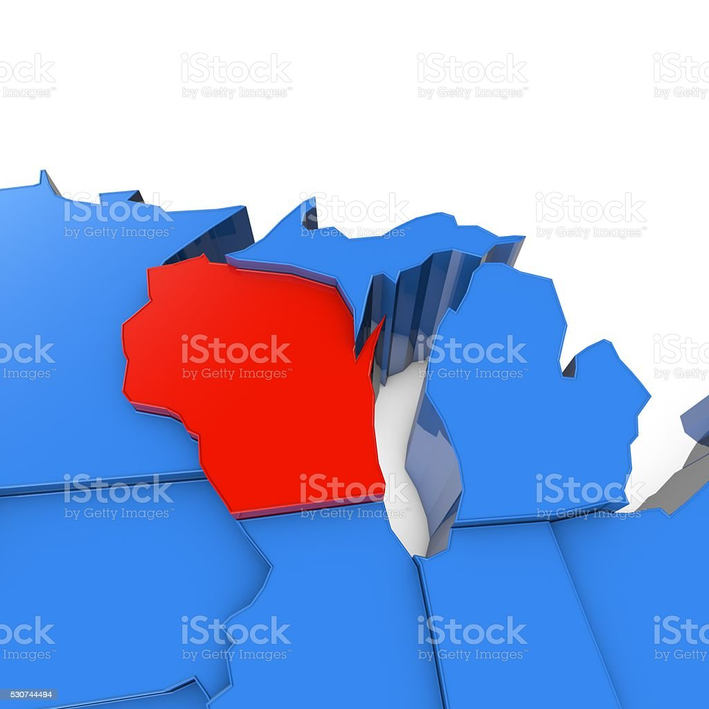 Usa Map With Wisconsin State Highlighted In Red stock photo iStock