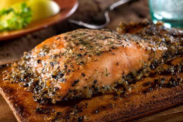 Planked Maple pimenta cedro salmão - foto de acervo
