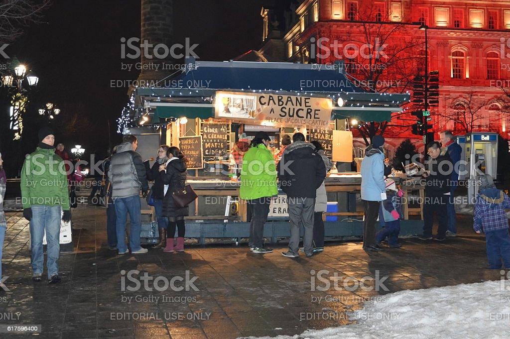 Maple sugar store at Place Jacques Cartier street stock photo