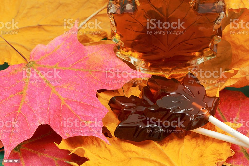 Maple Syrup and Lollipop Candy royalty-free stock photo