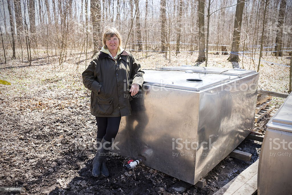 Maple syrup producer in a forest royalty-free stock photo
