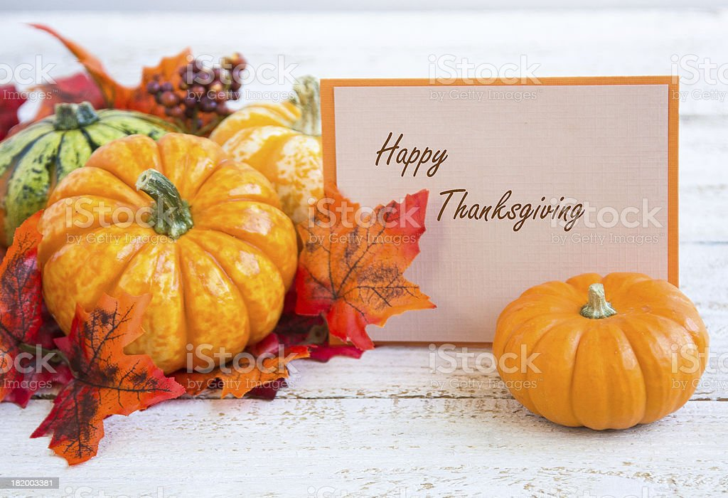 Maple tree and pumpkins with card royalty-free stock photo