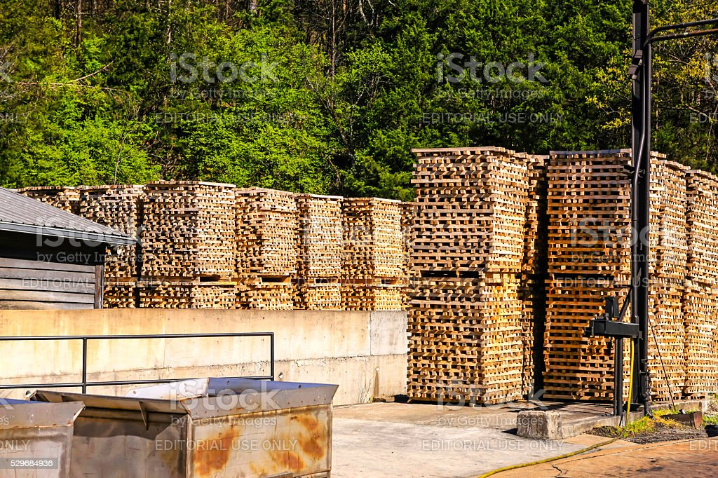 Maple wood at the Jack Daniels distillery in Lynchburg, TN stock photo