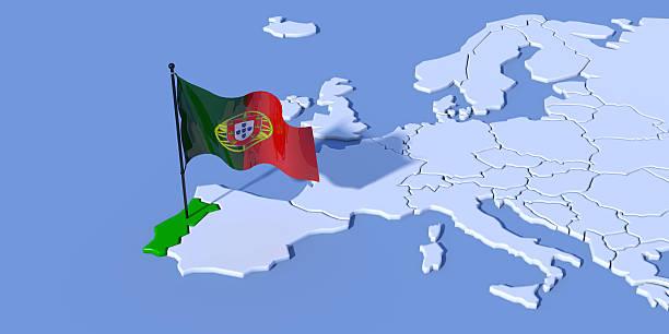 mappa europa 3d con bandiera portogallo - portugal map imagens e fotografias de stock