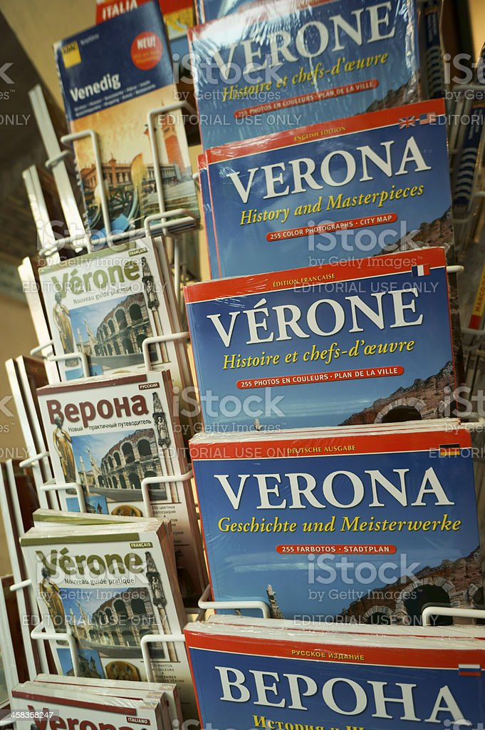 Maps and guides of Verona in different languages stock photo