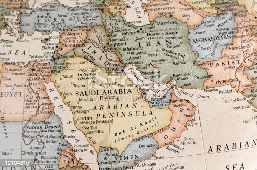 A close-up/macro photograph of Middle East from a desktop globe. Adobe RGB color profile.