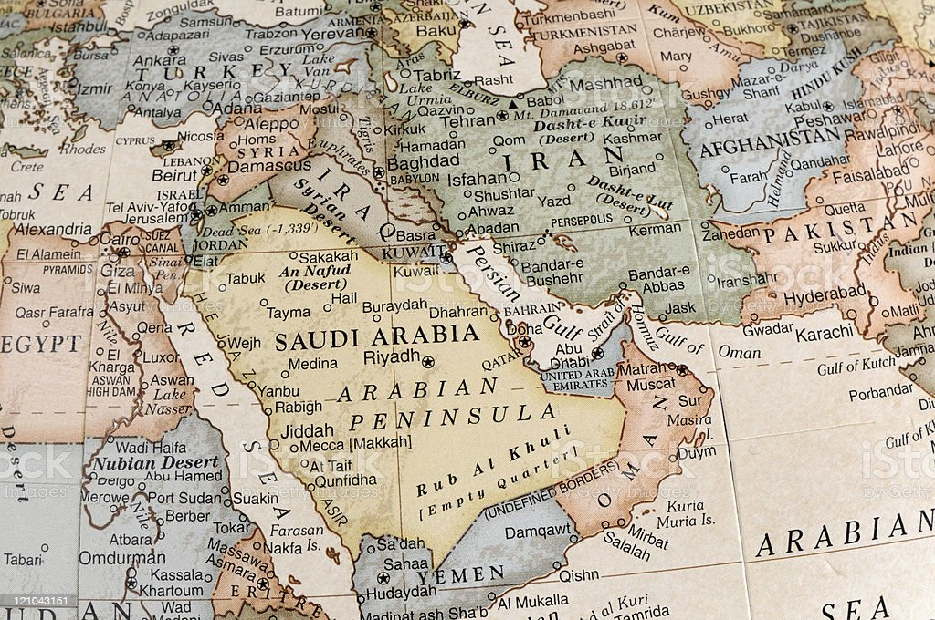 Maps of countries in Middle East stock photo