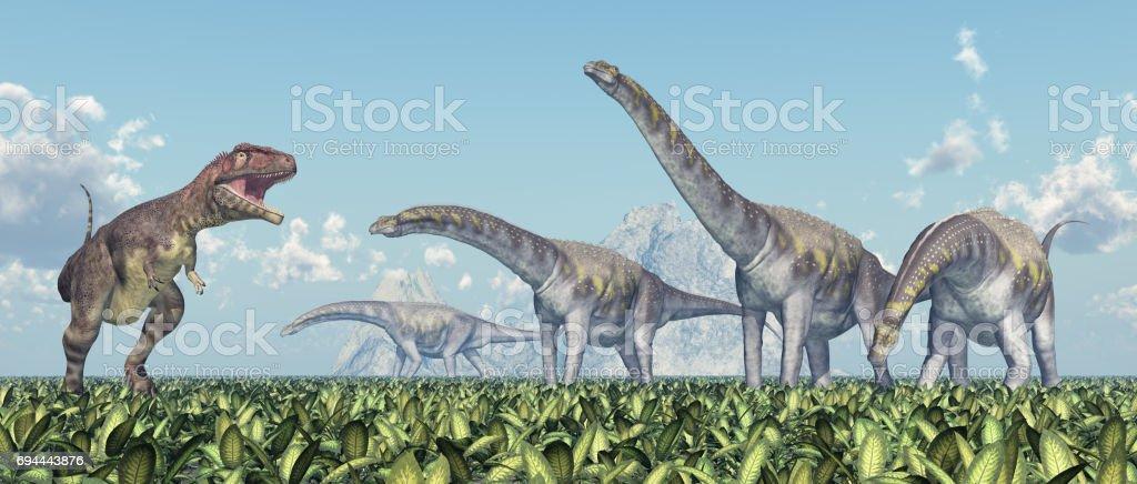 Mapusaurus y Argentinosaurus - foto de stock