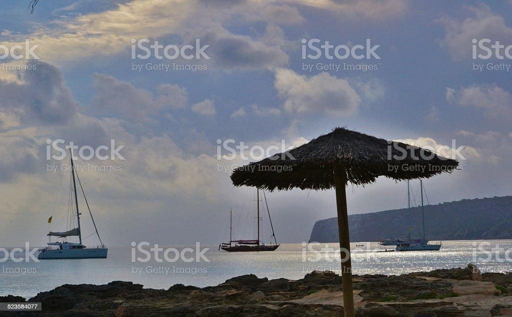 Mar Mediterraneo. Formentera's beach stock photo