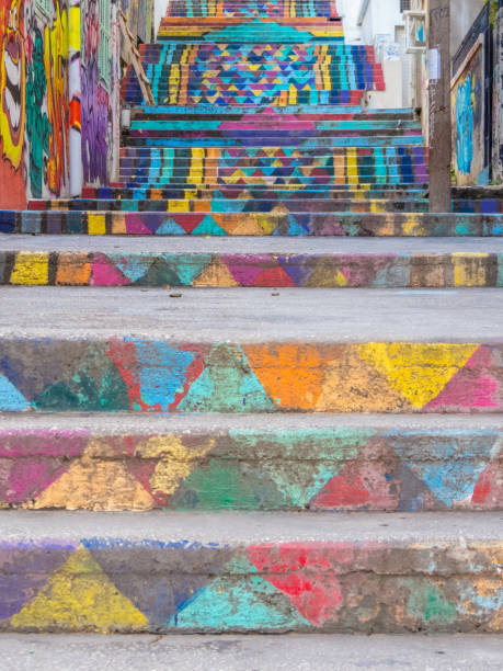 Mar Mikhael Painted Stairs, Beirut, Lebanon stock photo