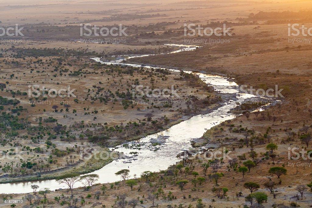 Mara River winding across the Serengeti, Tanzania Africa stock photo