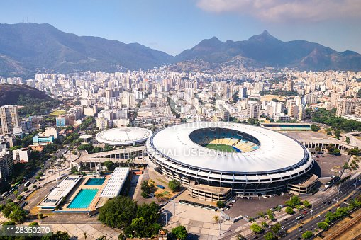 Rio de Janeiro, Brazil - January 18, 2019: Aerial view of Maracanã soccer stadium, the most famous stadium in Brazil and one of the most know in the world. Home of classic soccer matches, it welcomes soccer fans all around the country and the world.