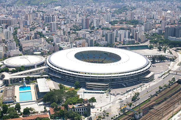 Maracana Stadium Rio de Janeiro, Brazil - December 28, 2013: Aerial Photo of famous Maracana Stadium from helicopter 2014 stock pictures, royalty-free photos & images