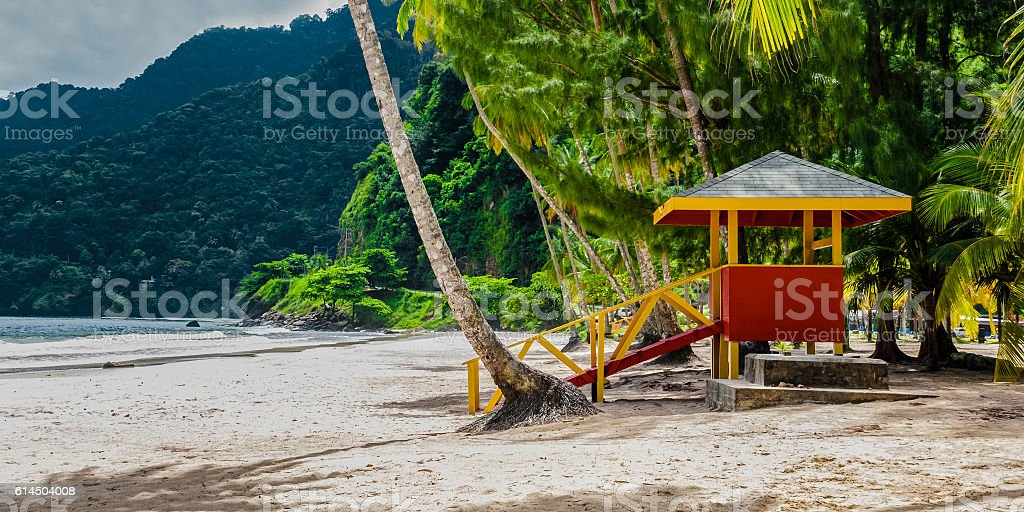Maracas beach trinidad and tobago lifeguard cabin empty beach stock photo