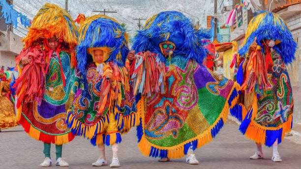 Maracatu Rural performers in paint effect Recife, Pernambuco, Brazil - February 12, 2018: The Maracatu Rural is a cultural manifestation of Pernambuco, whose main character is the spear caboclo (Caboclo de Lanca). It is considered as one of Brazil's immaterial assets brazilian culture stock pictures, royalty-free photos & images