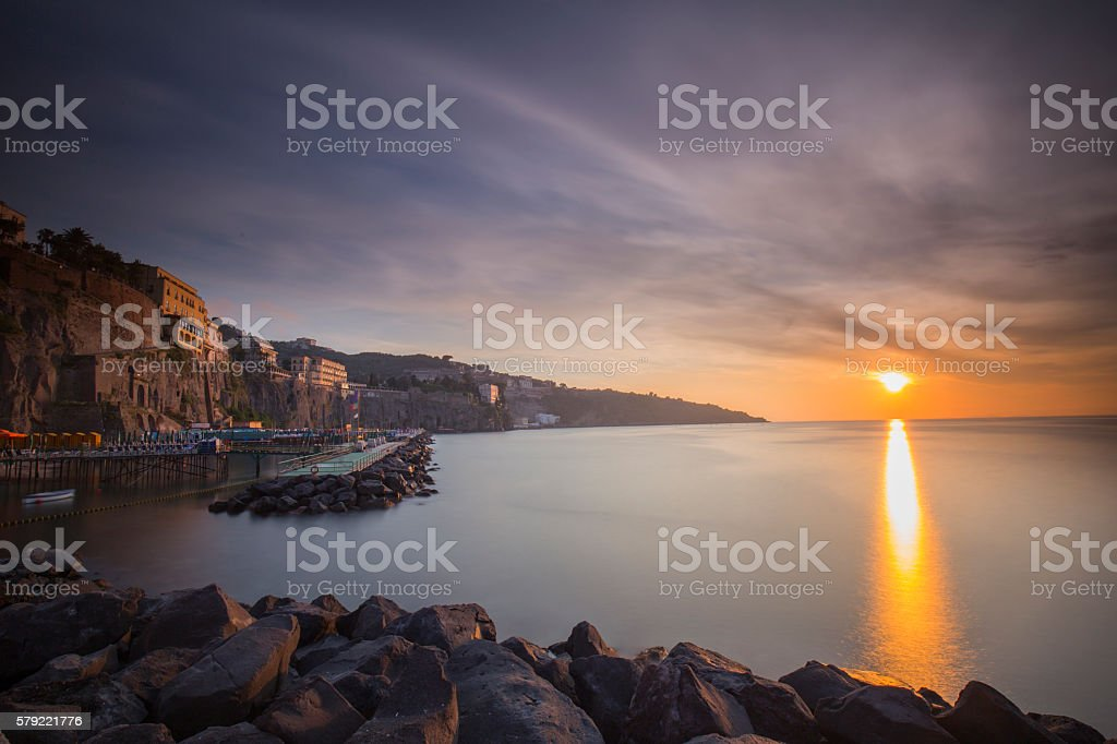 Marameo Beach in Sorrento during sunset stock photo