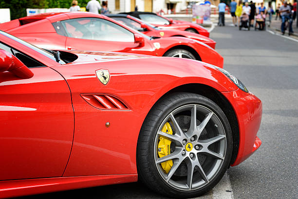 Maranello red night Maranello, Italy – June 18, 2016: Fifth edition of the Maranello red night with Ferrari car on display in the streets of the country ferrari stock pictures, royalty-free photos & images