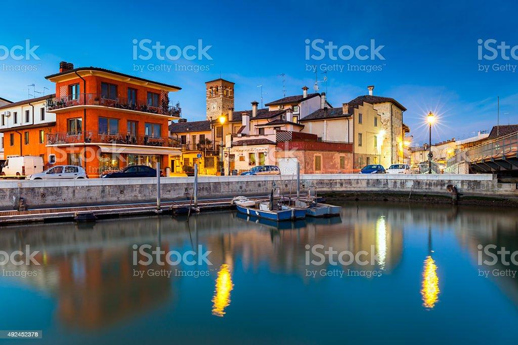 Marano Lagunare at Sunset, Friuli Venezia Giulia, Italy stock photo