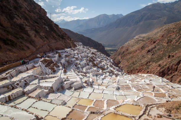 Maras Salt Mines, Peru Maras, Peru - October 11, 2015: Salt evaporation ponds at the Maras salt mines evaporation stock pictures, royalty-free photos & images