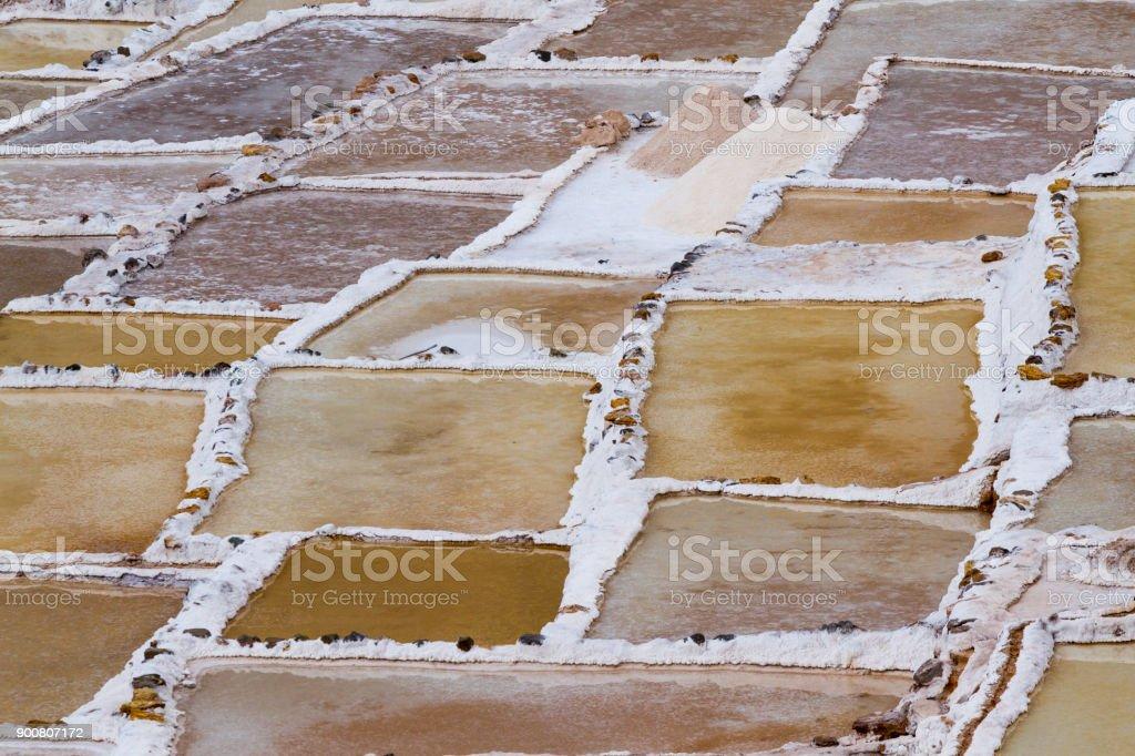Maras Terraced Salt Evaporation Ponds stock photo