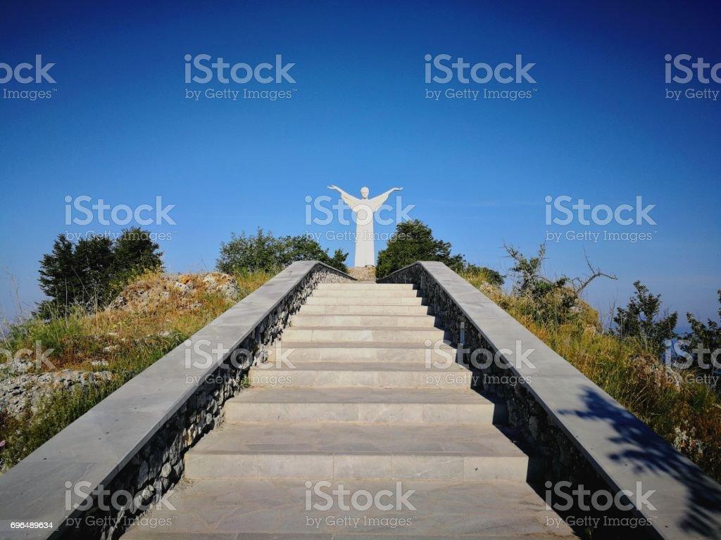 Maratea - Scalinata verso il Cristo Redentore stock photo