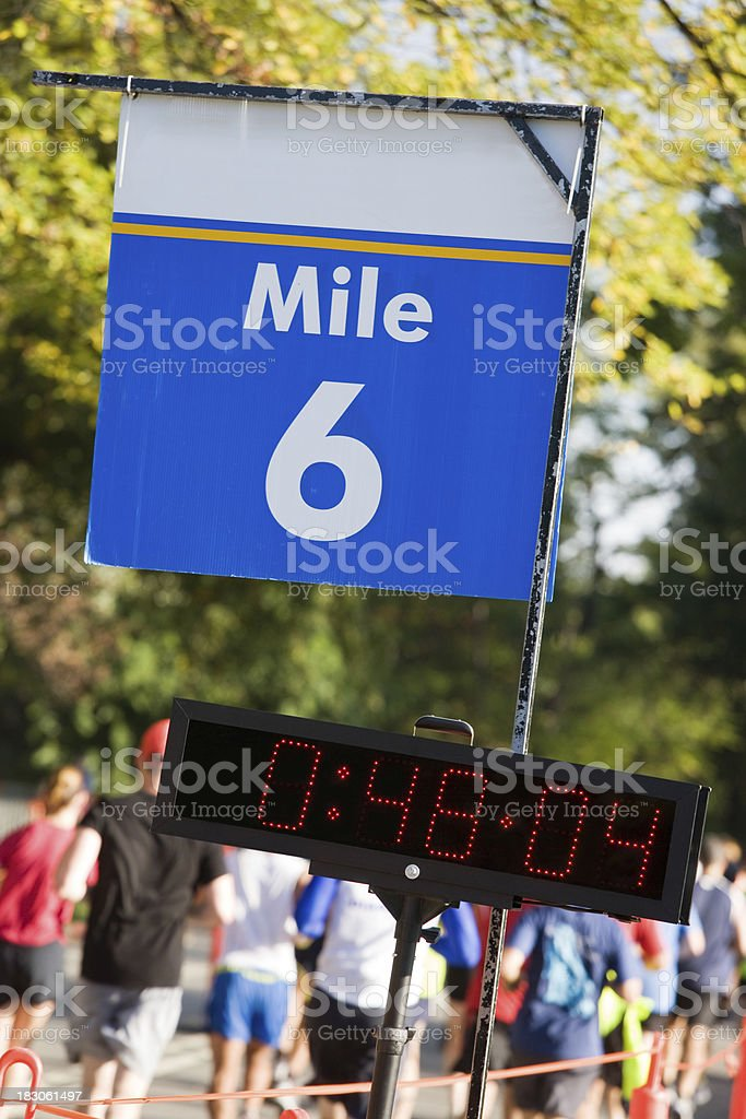 Marathon 6 mile marker stock photo
