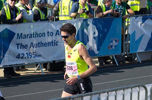 Marathon finisher stock photo