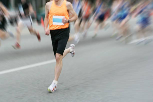 xl marathon runner - boston marathon stock photos and pictures