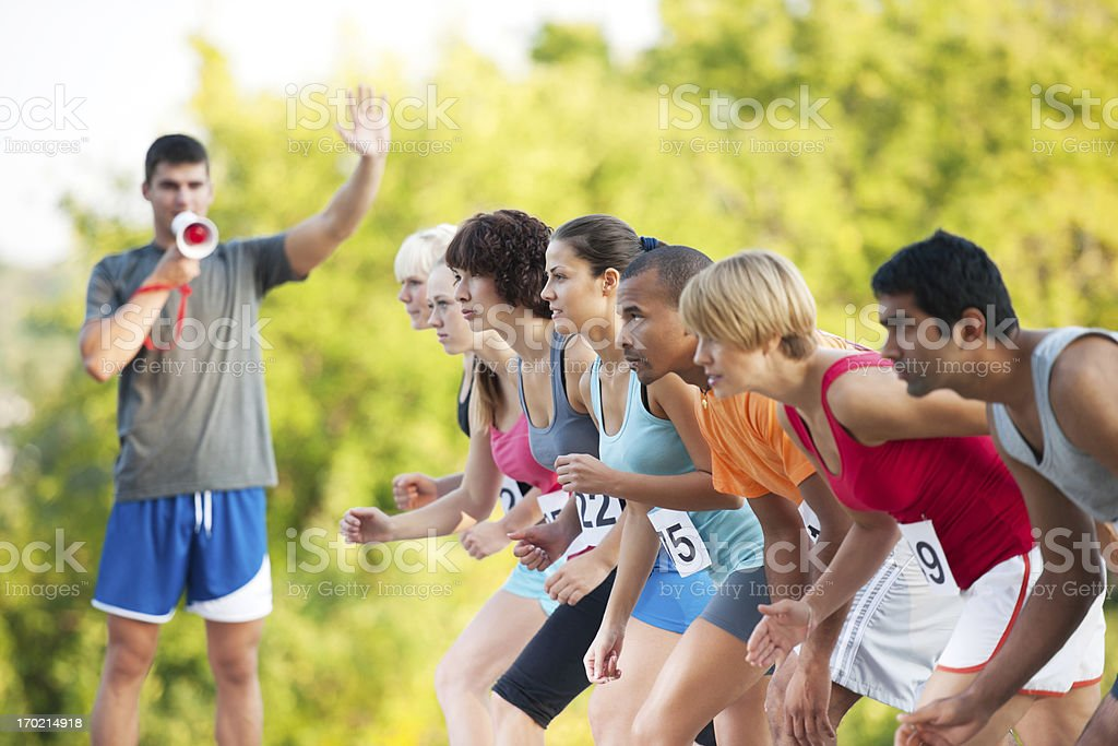 Marathon runners at the starting line. royalty-free stock photo