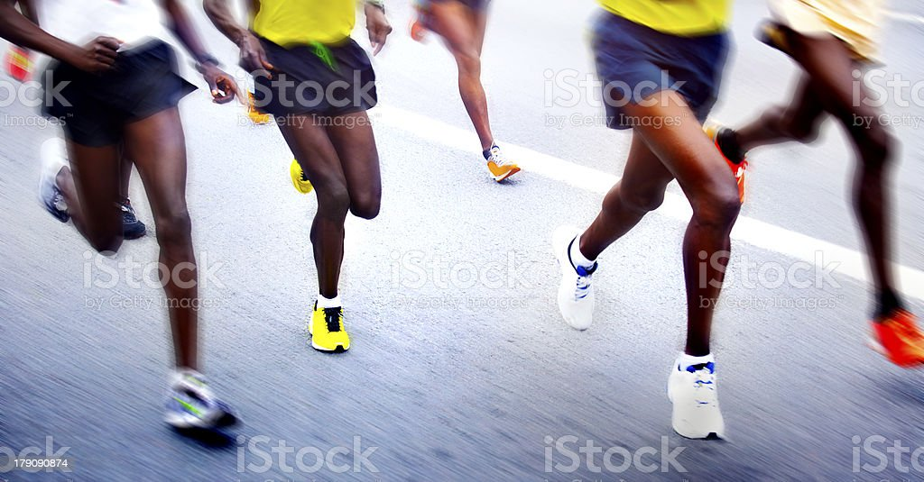Marathon runners - blurred motion royalty-free stock photo
