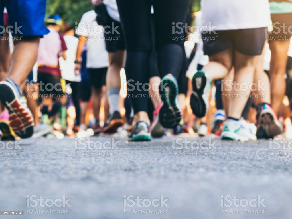 Marathon runners Crowd People outdoor Sport event stock photo