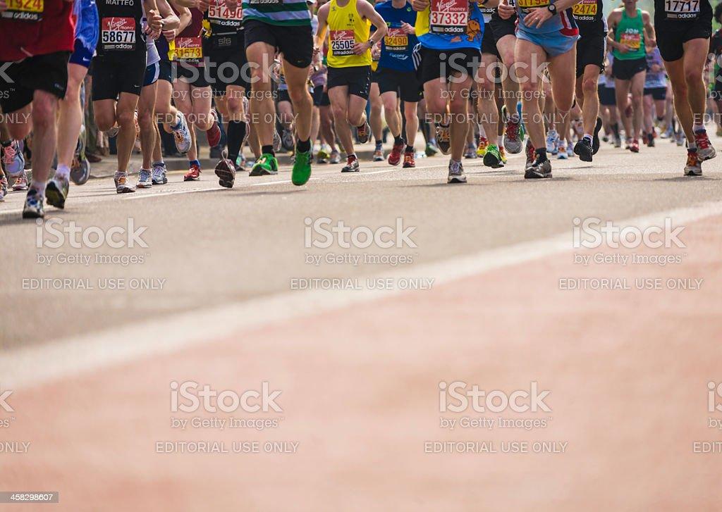 Marathon runners. London. Horizontal stock photo