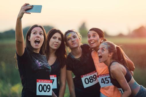 Marathon Runners Making Selfie