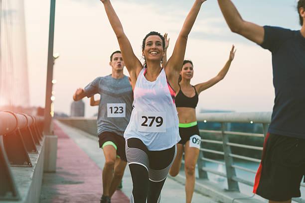 marathon runners. - maratón fotografías e imágenes de stock
