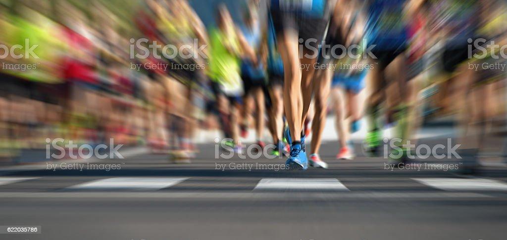 Marathon running race stock photo