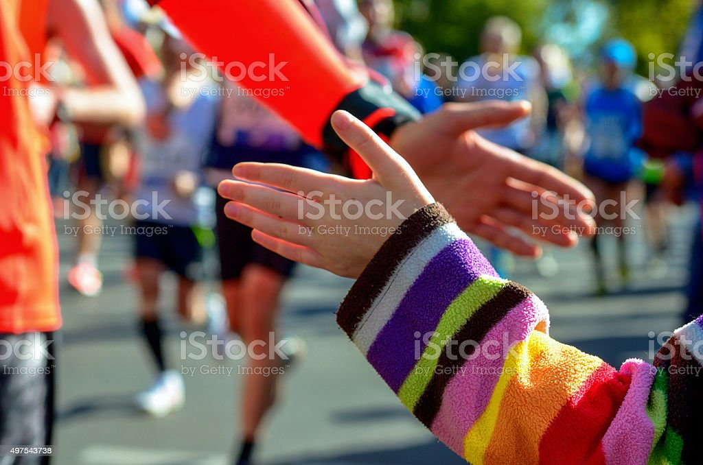 Marathon running race, support runners on road stock photo