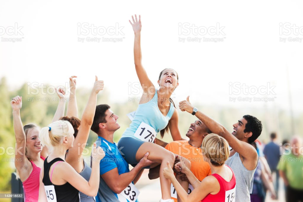 Marathon winner. stock photo