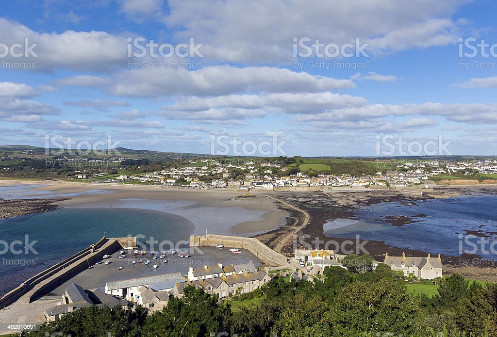 Marazion Cornwall England from St Michaels Mount castle and church stock photo