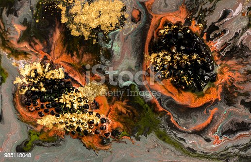 985119446istockphoto Marble abstract acrylic background. Dark marbling artwork circle texture. Agate ripple pattern. Gold powder. 985118048