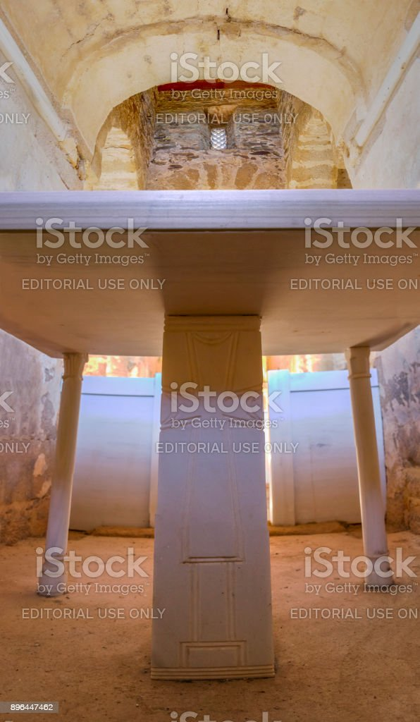 Marble altar on Central chapel of Visigothic Basilica of Santa Lucia del Trampal, Alcuescar, Spain stock photo